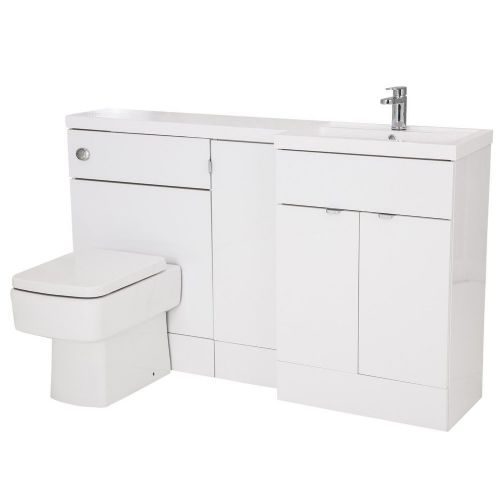 Elite White Gloss 1500mm Combination Furniture Pack - Right Hand